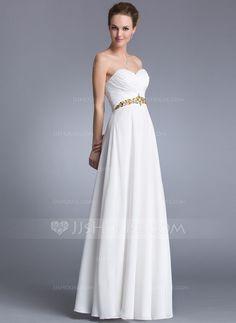Vestidos princesa/ Formato A Coração Chá comprimento De chiffon Vestido de baile com Pregueado Bordado (017041058)
