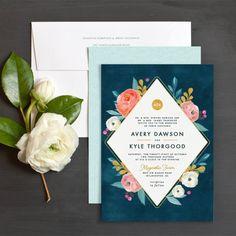 Painterly Blooms Wedding Invitations by Jennie | Elli