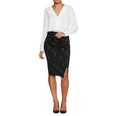 Dannii Monogue Petites Ponte Wrap Skirt - Black Marle