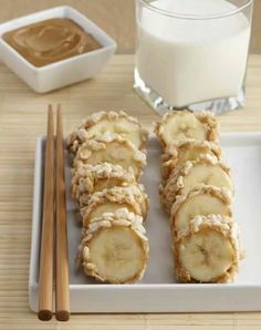 Bananas with peanut butter and rice krispies - kid friendly sushi