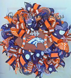 Denver Broncos deco mesh wreath                                                                                                                                                                                 More Broncos Wreath, Football Team Wreaths, Sports Wreaths, Football Decor, Football Crafts, Mesh Ribbon Wreaths, Fall Mesh Wreaths, Deco Mesh Wreaths, Mesh Wreath Tutorial