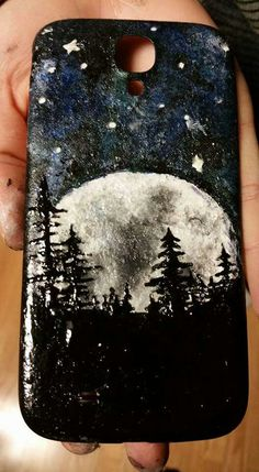 A friend daughter painted this phone case with nail polish! What an awesome idea!