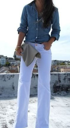 White jeans and chambray button down ~ everyday favorites