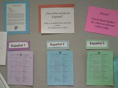 This is what I use  in my classroom to keep absent students organized. There is a weekly sheet posted with what we did each day. Below the board are three binders, one for each level of Spanish, where students can access handouts given during that week. This allows students to be self-sufficient in acquiring missed work during an absence.