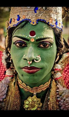 Green face paint for cultural celebration