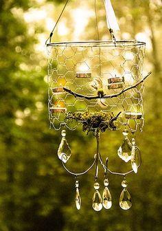 chicken wire chandelier