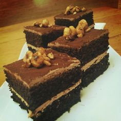 vegan chocolate cake, gianduja frosting, candied hazelnuts   Tender Greens #tgpastry