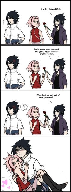Someone's jealous *sings it at the top of my lungs* I bet ya he only did it though because Alt. Sasuke was annoying. (But at the same time Alt. Sasuke is probably trying to make the ship come true :3)