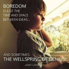 """Boredom is sometimes the wellspring of genius."" Janet Lansbury"