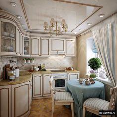 Бело-голубые шторы в интерьере кухни в стиле прованс Provence Interior, Kitchen Cabinets, Kitchen Island, Luxury, Table, Furniture, Home Decor, Life, Ideas