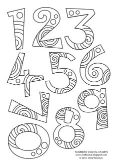 'Numbers' Free Digital Stamp Set 'plus' other fun paper crafts/digi's free Colouring Pages, Coloring Books, Doodles, Doodle Lettering, Alphabet And Numbers, Embroidery Patterns, Ribbon Embroidery, Machine Embroidery, Clipart