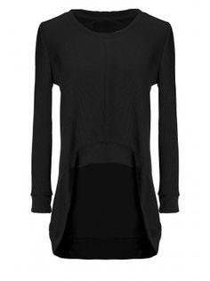 Irregular Style Long Sleeve Loose V Neck T-Shirt