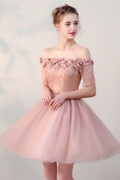 handmade dresses A line Party Dresses, Purple Prom Dresses, Short Party Dresses With Flower Short Sleeve Off-the-Shoulder Homecoming Dresses from customdresskoko Cheap Prom Dresses, Sexy Dresses, Evening Dresses, Short Dresses, Fashion Dresses, Formal Dresses, Cheap Dress, Cheap Tulle, Vintage Homecoming Dresses