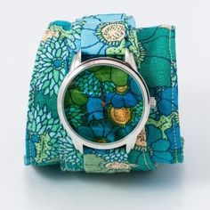 Blue Flowers Watch Fabric Watch by ZIZWatches on Etsy, Telling Time, Soft Summer, Watches For Men, Wrist Watches, Love Flowers, Fashion Watches, Coin Purse, Cross Stitch, Unisex