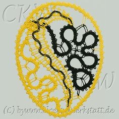Lace Heart, Lace Jewelry, Bobbin Lace, Hobbies And Crafts, Lace Detail, Butterfly, Halloween, Inspiration, Easter Eggs