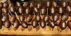 Football cake pops for birthday party or Super Bowl
