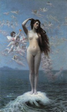 "Jean-Léon Gérôme, Venus Rising (The Star), 1890. In myth, Venus-Aphrodite was born of sea-foam. Venus embodies sex, love, beauty, enticement, seduction, and persuasive female charm among the community of immortal gods; in Latin orthography, her name is indistinguishable from the Latin noun venus (""sexual love"" and ""sexual desire""), from which it derives."