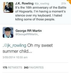 Game of thrones funny humour meme, Harry Potter. JK Rowling, George R.R. Martin tweets