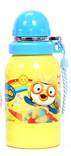 Pororo Stainless Steel Water Bottle (400ml) (Blue) ** Click image to review more details.