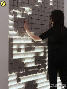 Fuorisalone.it 2014 Kinetic Architecture, Architecture Design, Retro Lighting, Lighting Design, Wooden Wall Panels, Xmax, Barbican, Digital Wall, Light Installation