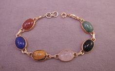 Semi-Precious Scarab Bracelet, Gold Tone c1960-70s by thejeweledbear on Etsy