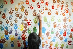 a mural we made with children who received TOMS Shoes with Giving Partner Buckner International in Peru // art play kid happy