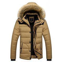 Chaud Casual Slim Homme hiver chaud Manteaux manches longues à capuche amovible (L, Kaki): Tweet Tissu: polyester préféré tissu de fibres,…