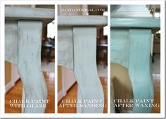 chalk paint, glaze, and wax, step by step, with general notes on use - enjoyed reading her experience to know what to expect - #FurnitureFinishes #FurnitureFinishing #ChalkPaint #Refinish #DIY - pb†å