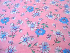 Vintage Fabric  Feed Sack  Blue & White Daisies On by NehiandZotz, $15.00