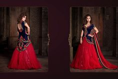 Diya Mirza Blue & Red Colour Net Embroidery Work Unstitched Designer Lehenga