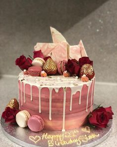 love love love this cake, dusky pink ombré, with a white drip topped with macarons, fresh roses, strawberries and chocolate bark 🤤 the perfect birthday cake! 19th Birthday Cakes, Birthday Cake Roses, White Birthday Cakes, Beautiful Birthday Cakes, Beautiful Cakes, Amazing Cakes, 21st Birthday, Birthday Ideas, Drip Cakes