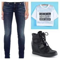 Dark skinny Levi jeans and sacred heart black wedge sneakers sold @Kohl's #expectgreatthings shirt as seen on Khloe Kardashian found on Asos.com #asos @ASOS.com