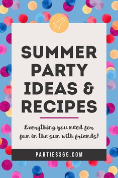 Ready to throw a fabulous party this summer but need ideas for your celebration? Check out these festive parties for summer party themes, decorations, recipes, food and more! Fun Party Themes, Party Ideas, Kids Party Tables, Backyard Party Decorations, Cupcake Recipes, Cupcake Ideas, Party Drinks, Cocktails, Halloween Cupcakes