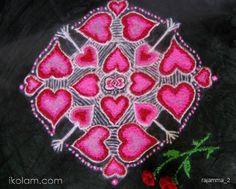 Rangoli of hearts and arrows - by Rajam. -iKolam.com