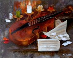 Mozart Oil Painting Violin Wall Art On Canvas By Leonid