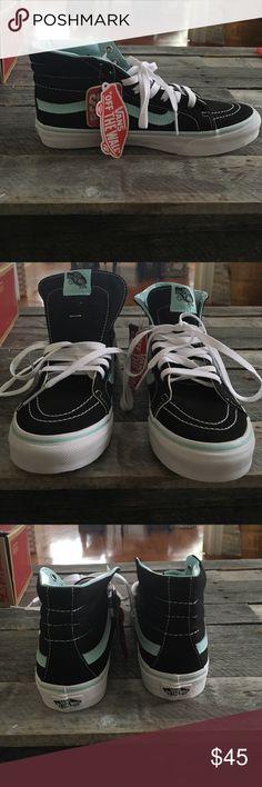 Vans Sk8-Hi Slim Classic Never been worn Vans Sk8-Hi Slim classics. Comfortable and light. Black with a light blue trim. Vans Shoes Sneakers