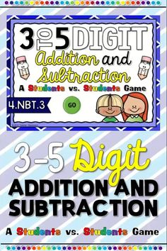Digital game to add and subtract 3, 4, and 5 digit numbers. No prep. Works with google classroom. Great for distance learning. Addition And Subtraction Practice, Subtraction Games, Addition Games, Student Games, Math Games, Math Activities, Upper Elementary Resources, Teacher Resources, Elementary Schools