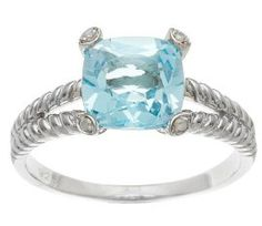 2.6ct Cushion Genuine Blue Topaz and Diamond Ring in Rope Silver