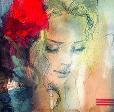 Anna Razumovskaya paintings:  red head