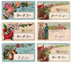 Antique Victorian Calling Cards Cherries Pears Vintage Ephemera Lot of 6