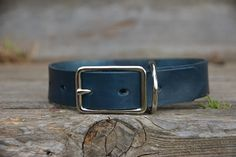 Personalized Blue Leather Dog Collar with by MarlonBrandLeather