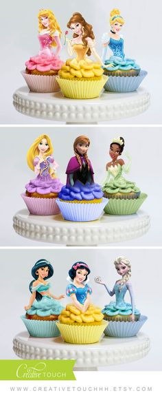 Baby Girl Birthday Invitations Cupcake Toppers 53 Ideas For 2019 Disney Princess Cupcakes, Princess Cupcake Toppers, Disney Princess Birthday Party, Princess Theme, Girl Birthday, Cake Birthday, Princess Disney, Cinderella Party, Birthday Ideas
