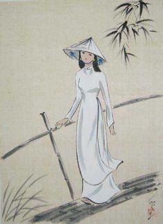 Dessins et Peintures Sur Le Théme des Etudiantes en AoDai Blanc - Ame Vietnamienne - Em là cô gái Pháp mà hồn em là người Việt