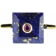 Maiko Nagayama - Square Lapis & Ruby Cocktail Ring ($870) ❤ liked on Polyvore featuring jewelry, rings, cocktail rings, dark ring, square ring, ruby ring and ruby jewelry