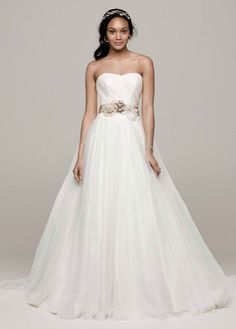 Strapless Ruched Bodice Tulle Ball Gown - David's Bridal
