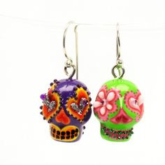 Day of the Dead Skull Earrings 00014   Skull El Dia De Los Muertos Earrings Calavera Jewelry Ceramic Porcelain Hand Painting  www.goodiemud.com