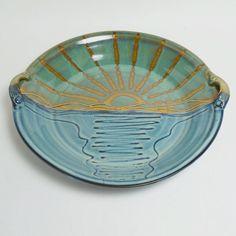 Large wheel thrown bowl/platter with handles