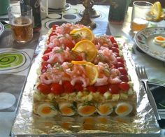 Sandwhich Cake, Savory Cheesecake, Seafood Recipes, Cooking Recipes, Swedish Recipes, Tea Sandwiches, Healthy Dishes, Appetizers For Party, Soup And Salad