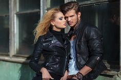 Photo about Fashion couple in leather jackets posing against an old building outdoor. Image of look, people, outdoor - 35446456 Custom Leather Jackets, Leather Jackets Online, Men's Leather Jacket, Old Building, Fashion Couple, Trends, Photo Editing, Poses, Stock Photos
