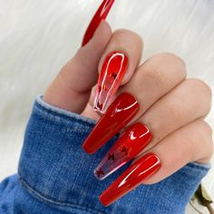 In seek out some nail designs and ideas for your nails? Here is our list of must-try coffin acrylic nails for modern women. Red Acrylic Nails, Summer Acrylic Nails, Red Summer Nails, Red Glitter Nails, Cute Red Nails, Long Red Nails, Red Ombre Nails, Nail Bling, Nail Swag